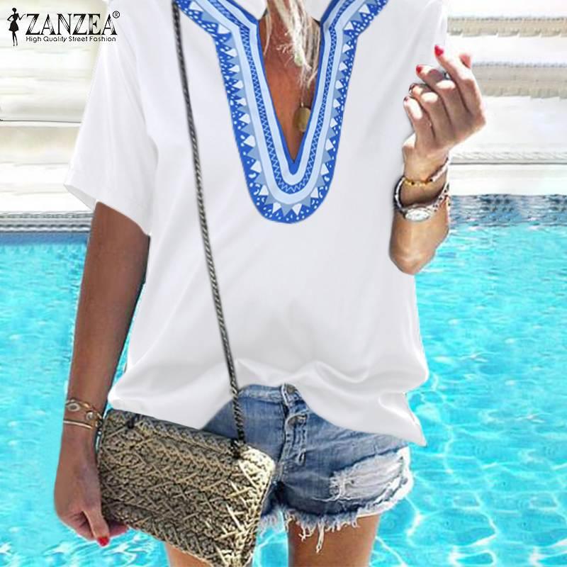 2020 ZANZEA Fashion Printed Tops Women's Summer Blouse Bohemian V Neck Blusas Female Short Sleeve Shirts Female Casual Tunic 5XL