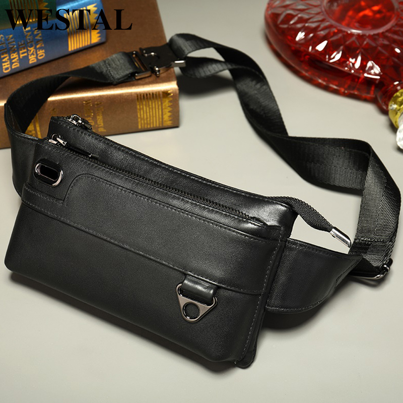 WESTAL Men's Waist Bag Genuine Leather Waist/fanny Packs Belt Bag Men Bag Men's Waist Banana Bag For Men Casual Men's Bags 8991