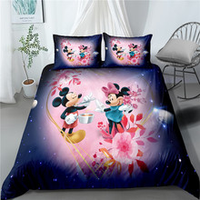 Disney Purple Floral Minnie Mouse Polyester Duvet Cover Pillowcases Comforter Cover Set for Boys Girls Bedroom Decor Twin Single