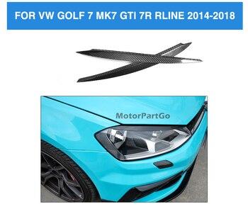 Real Crabon Fiber Head light Eyelid Eyebrow Cover Trim 1pair for   Volkswagen VW Golf 7 VII MK7 GTI R-LINE 2014 - 2018  V115 1