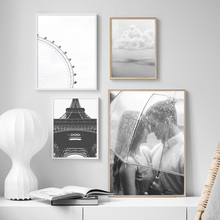 Gray Paris Tower Lovers Ferris Wheel Landscape Wall Art Canvas Painting Nordic Posters And Prints Pictures For Living Room