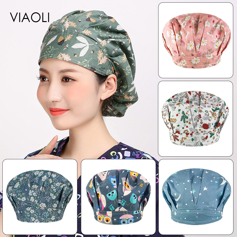 Viaoli Adjustable Cooking Hats For Men And Women Kitchen Cafes Elastic Berets Catering Cooking Caps Printed Work Caps Chef Hat