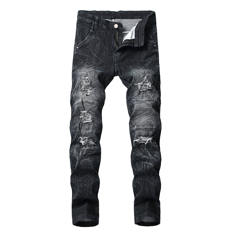 Sokotoo Men's Tie And Dyed Black Ripped Jeans Slim Fit Holes Distressed Stretch Denim Straight Pants