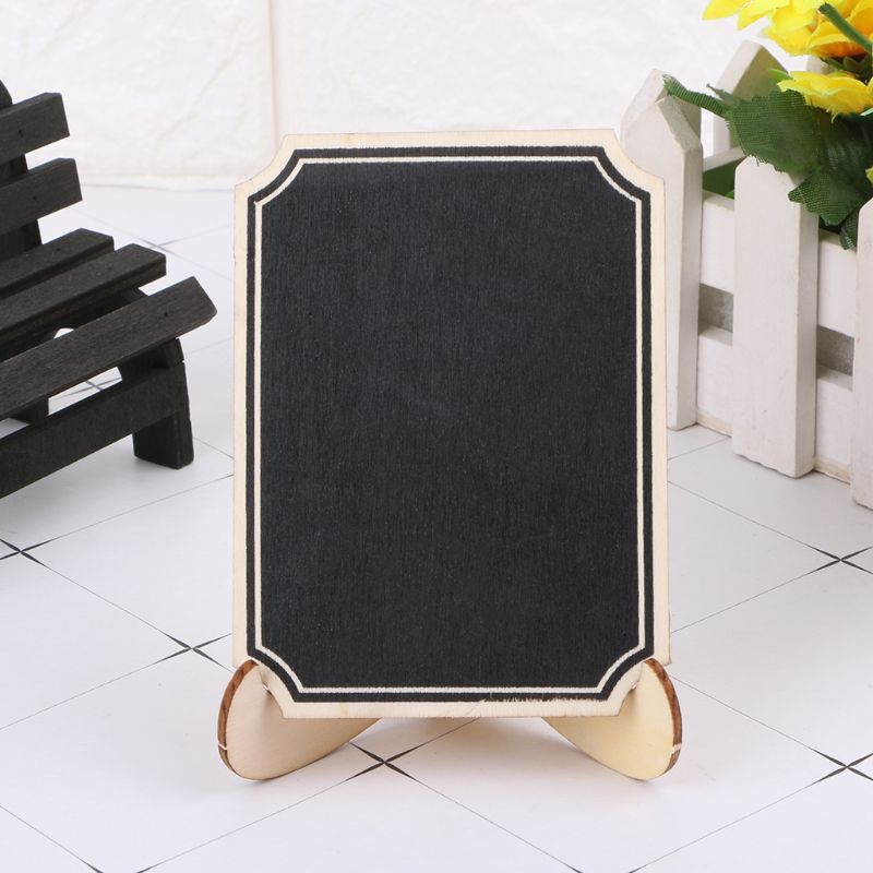 10pcs Wooden Mini Blackboard Table Sign Memo Message Stand Chalk Board Wedding Party Decoration Supplies