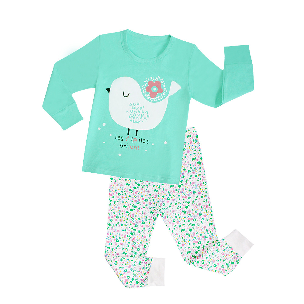 Autumn Clothing New Products Children Clothing Home Clothes Wholesale Foreign Trade Lycra Boy Tracksuit Pajamas Suit Birds Tops