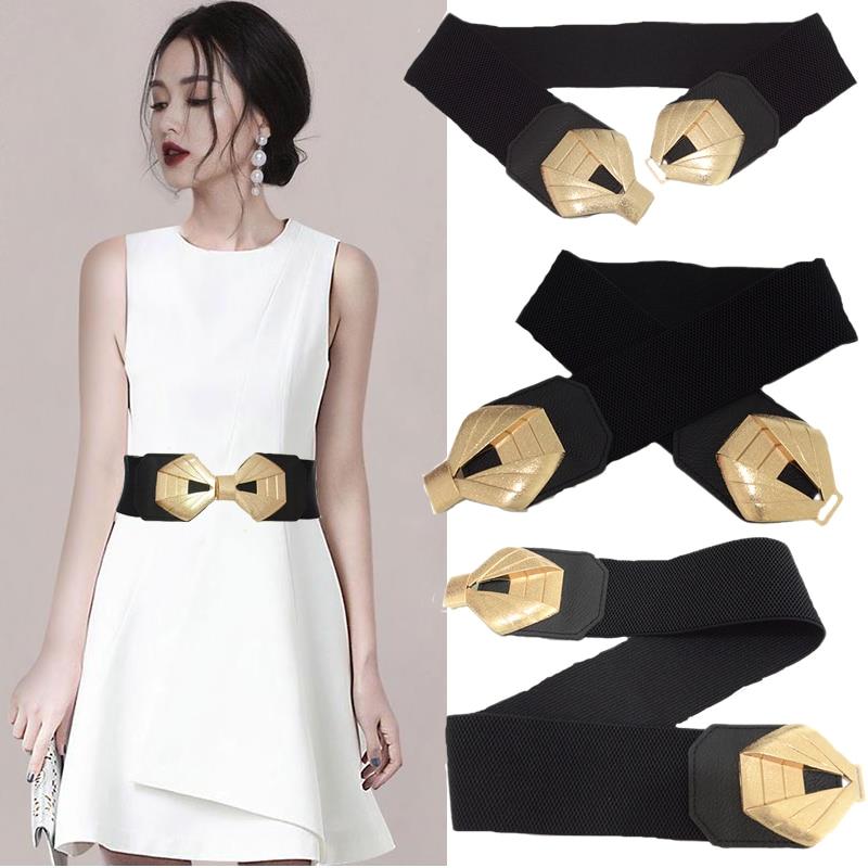 New Ladies Metal Diamond-shaped Double Buckle Waist Seal Luxury Brand Fashion Women's Dress Elastic Decorative Belt Bg-1623