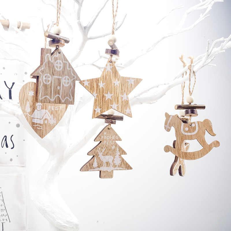 Nuove Decorazioni Di Natale Biancheria Di Natale In Legno Del Pendente Verniciato Bianco Albero Di Natale Armadio Decorazione Pendente