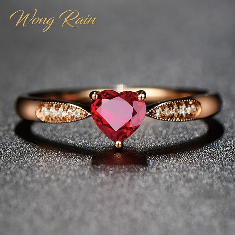 Wong Rain Vintage 100% 925 Sterling Silver Heart Ruby Gemstone Wedding Engagement Cocktail Rose Gold Ring Fine Jewelry Wholesale