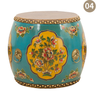 Drum stool Solid wood new Chinese embroidered pier stool leather painted sofa stool guzheng stool Mahogany drum stool