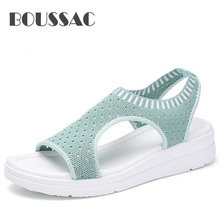 цена на BOUSSAC 2019  Sandals Women Summer Shoes Peep Toe Casual Flat Sandals Ladies Breathable Air Mesh Women Platform Sandal Sandalias