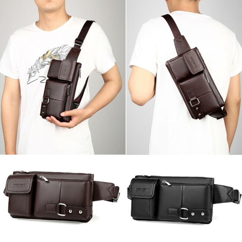 Men Waist Bag Belt Mobile Phone Case PU Leather Horizontal Waist Clip Pouch Pack