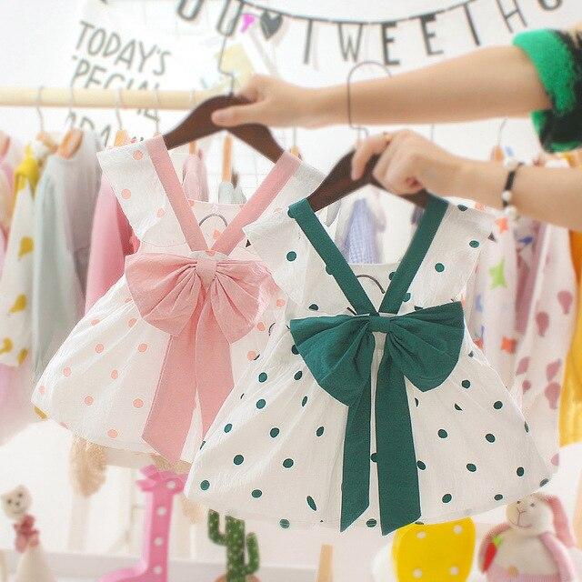 Łuk noworodka sukienka dla dzieci czysta bawełna rękaw Polka Dot dziewczynka ubrania pierwsza pierwsza sukienka urodzinowa dla dziewczynki księżniczka sukienka