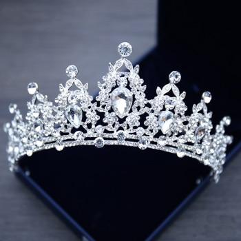 Wedding Hair Tiara Crystal Bridal Tiara Crown Silver Color Diadem Veil Tiaras Wedding Hair Accessories Headpieces Head Jewelry 1
