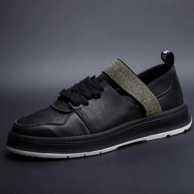 Merek Asli Kulit Putih Sepatu Pria Sneakers Elastis Band Kasual Flat Hitam Mewah Pelatih Round Toe Bisnis Kulit Sapi Sepatu