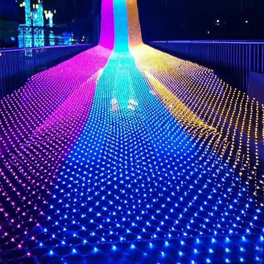 Thrisdar 3*2m 10*1m 4*6m LED Net Mesh String Light Christmas Wedding Party Garland String Light Holiday Window Curtain Light