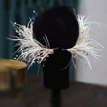 1 пара перо с украшением в виде кристаллов боковой зажим Форма