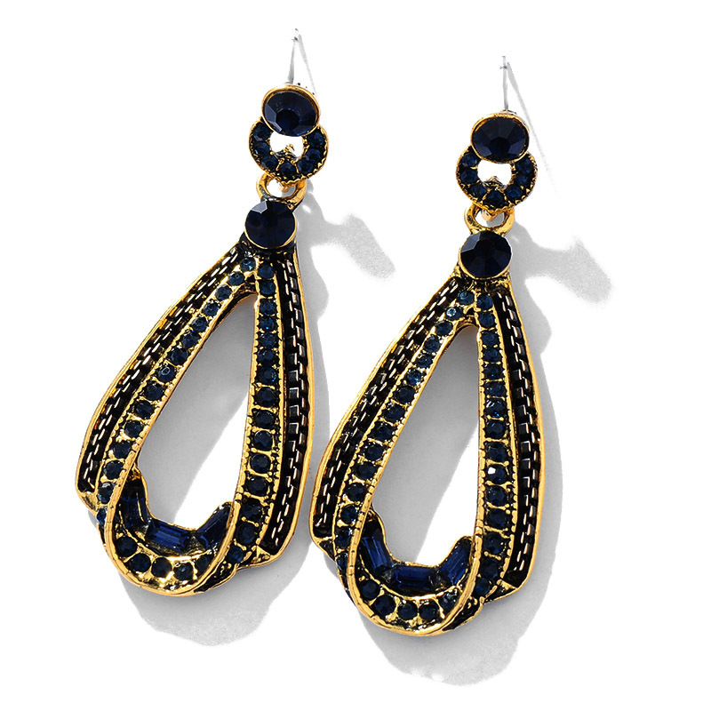 Dark Blue Irregular Big Acrylic Statement Jewelry Long Drop Acetic Acid Stone Earrings For Women Girl E568