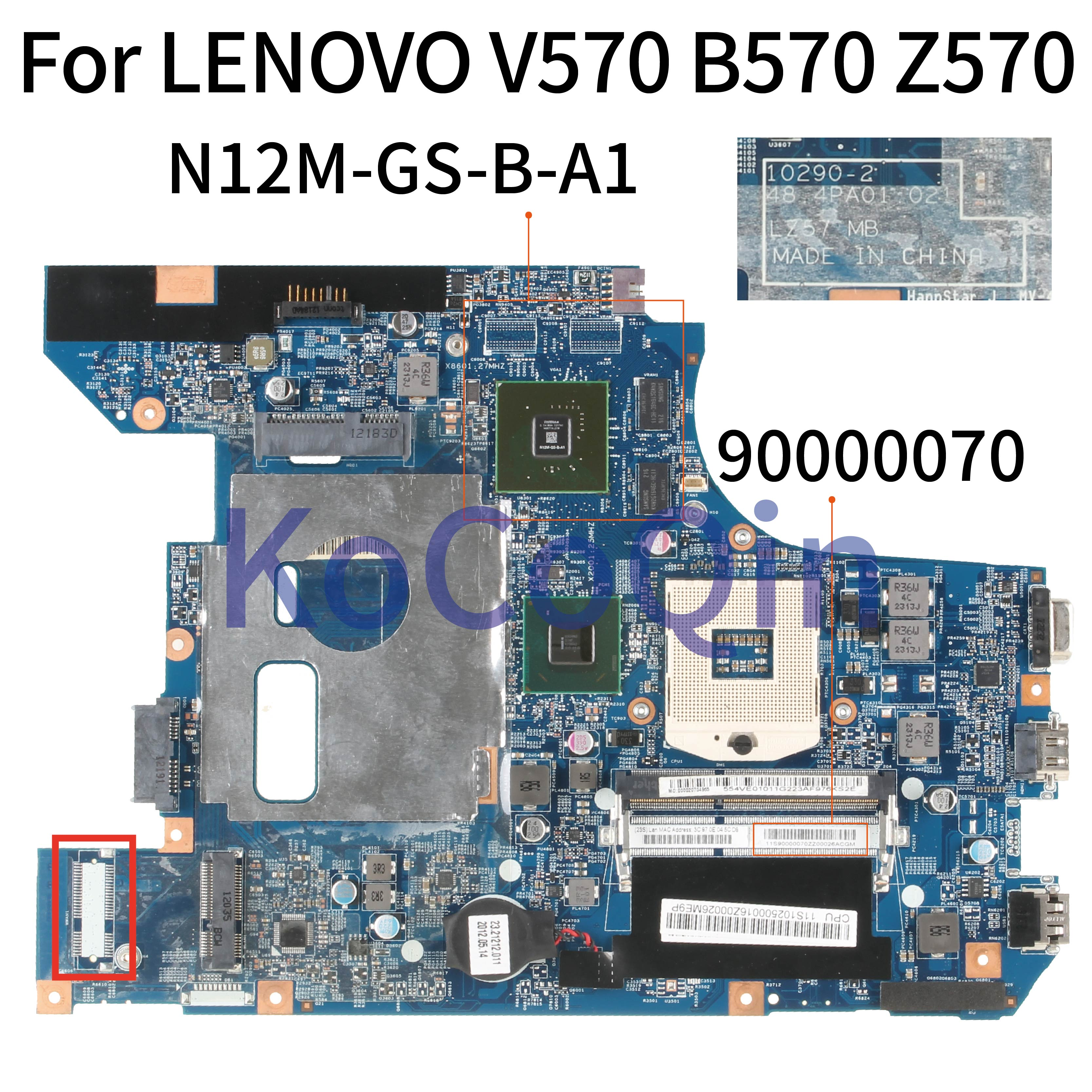 KoCoQin Laptop Motherboard For LENOVO B570 B570E HM65 Mainboard 90000070 10290-2 48.4PA01.021 LZ57 N12M-GS-B-A1