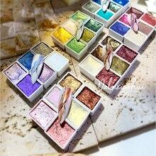 Ручная работа, 36 цветов, металлическая однотонная Акварельная краска, цветущий перламутровый пигмент, профессиональные акварели для худож...
