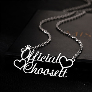Custom Name Necklace Crown 2 Name with Heart Necklaces for Women Girls Personalized Nameplate Choker Jewelry Stainless Steel