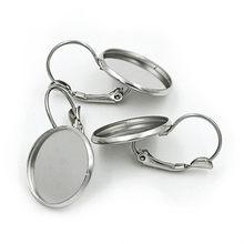 Levier français vierge en acier inoxydable, plateau pour boucles d'oreilles, Cabochon, bijoux de Base, Cameo, 8/10/12/14/16/18/20mm, 10 pièces/lot