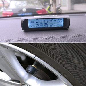 Image 2 - Vالمسيل للدموع سيارة TPMS العالمي الذكية نظام مراقبة ضغط الإطارات الطاقة الشمسية الرقمية شاشة الكريستال السائل أنظمة إنذار أمن السيارات أجزاء
