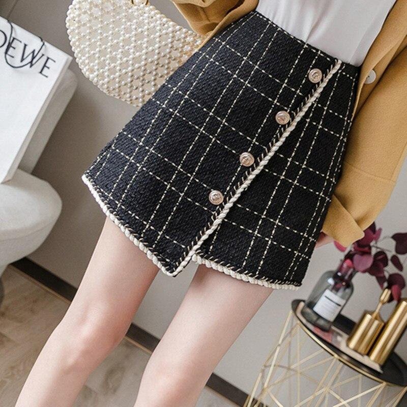 New 2020 Autumn Winter Mini Tweed Skirt Women Sexy Plaid Skirts Ladies Fashion Korean High Waist Asymmetry Skirt on AliExpress