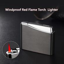 Модная индивидуальная металлическая зажигалка с красным пламенем