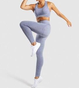 Image 5 - Chrleisureファッションシームレスフィットネスレギンスfemininaデニムスポーツウェア女性ハイウエストワークアウトレギンス女性
