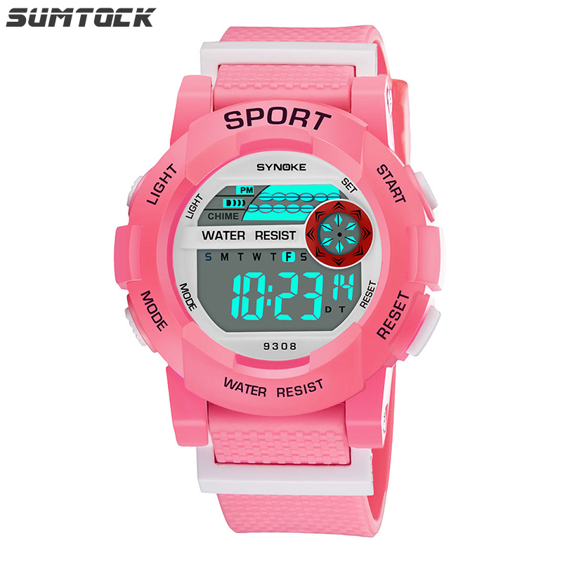 SUMTOCK Boys Girls Watches Kids Digital PU Strap Stop Watch LED Display Alarm Features Student Wristwatches 2019 Cocuk Saatleri