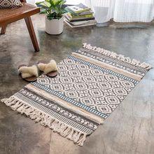 Alfombra de lino de algodón alfombra de piso para el hogar sala de estar Mesa tapiz tejido a mano alfombras de borla sofá cojín alfombra de área