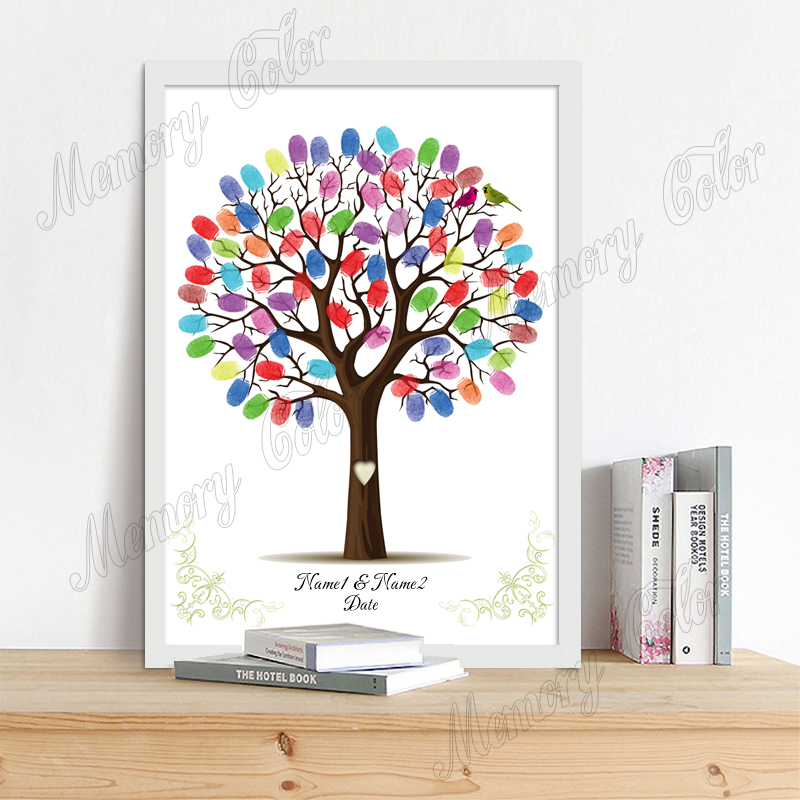 Personalized Name Date Fingerprint DIY Wedding Tree Canvas Guestbook For Wedding Anniversary Souvenir (Inkpad Included)
