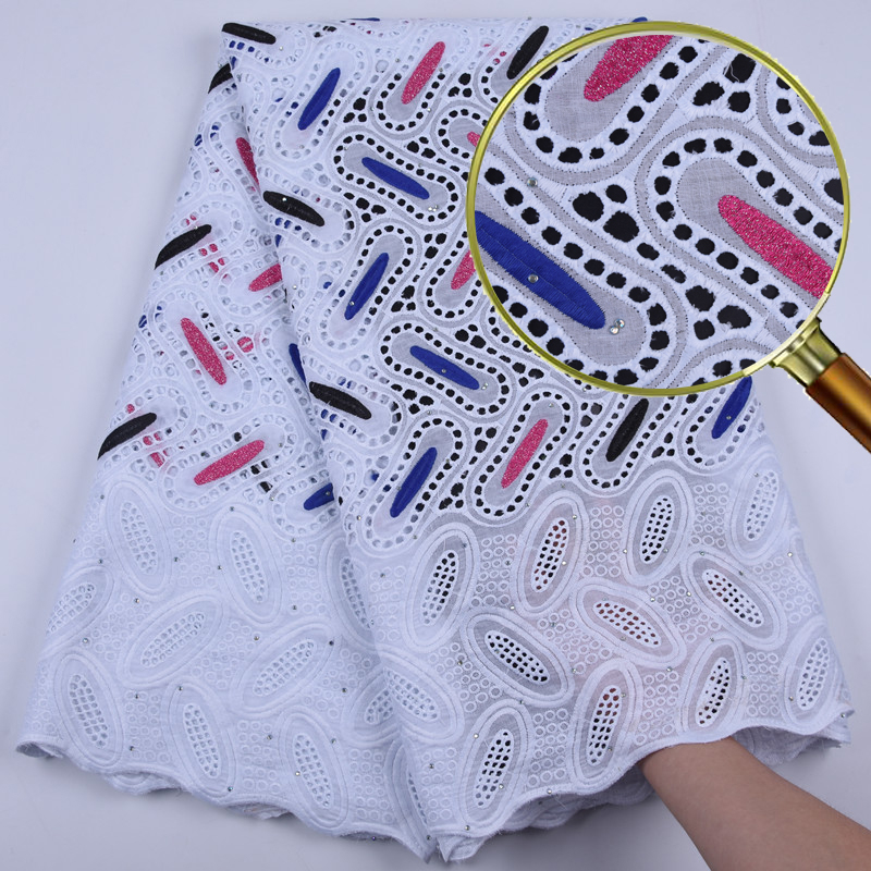 Cotton-Like Beaded African Nigerian Lace Fabric High Quality Embroidery Lace Fabric For Wedding Party Dresses