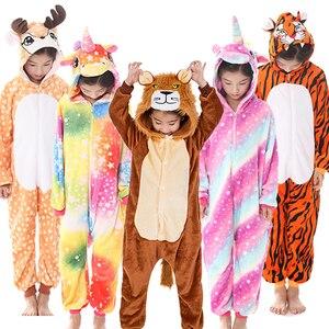 Unicorn Jumpsuit Kigurumi Unicornio Kids Pajamas Children Winter Homewear Boys hooded Flannel Onesies Girl Panda Overall