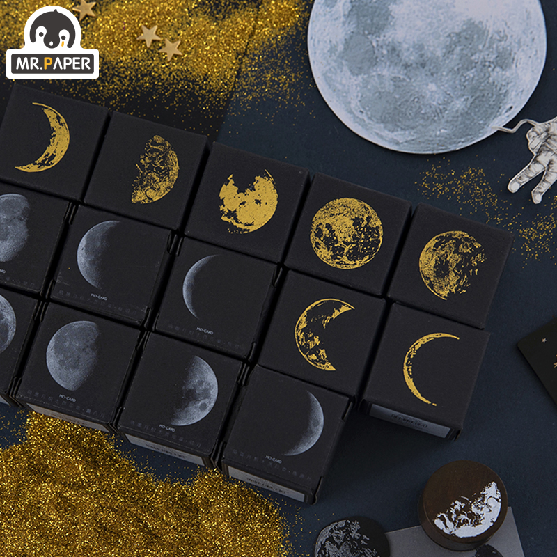 Mr.Paper 7 Designs Moon Phase Series Gold Space Hop-pocket List Log-Rubber Stamps For Scrapbooking Deco DIY Craft Wooden Stamps