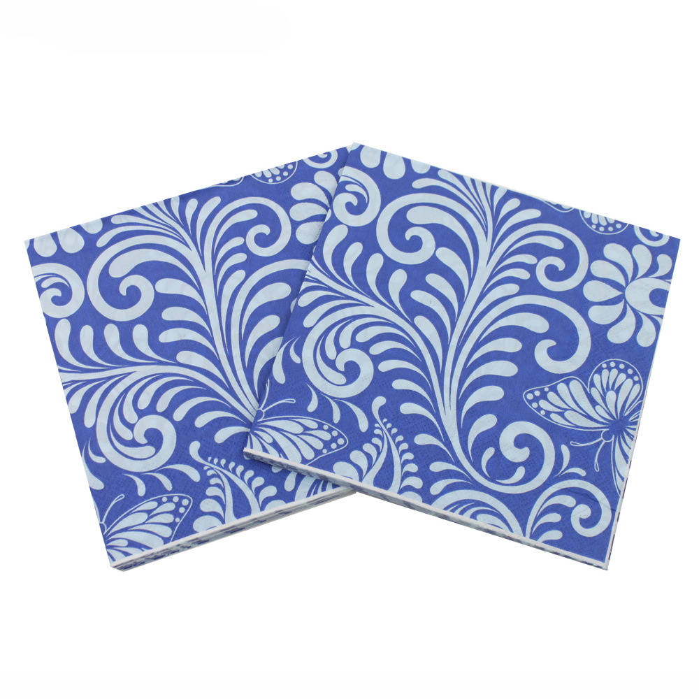 [Currently Available] Color Printed Napkin Tissue Paper Blue Butterfly