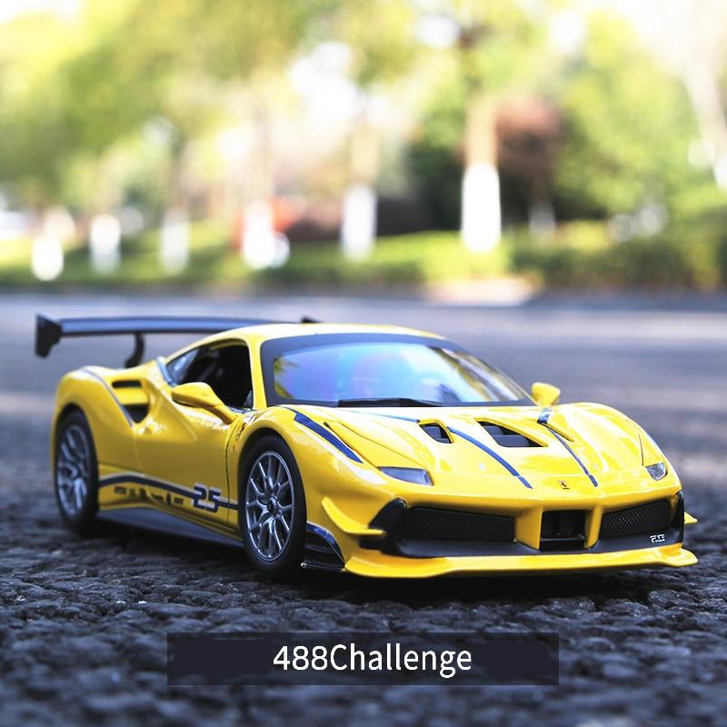 Bburago 1:24 Ferrari 488 Challenge Car Model Die-casting Metal Model Children Toy Boyfriend Gift Simulated Alloy Car Collection
