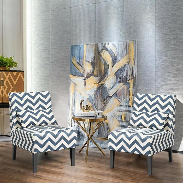 Set of 2 Armless Accent Chairs  4