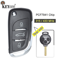 KEYECU 1x / 2x 315MHz/ 433MHz PCF7941 Chip New Upgraded Flip 3 Button Remote Car Key Fob for Mercedes Benz Smart Fortwo 451