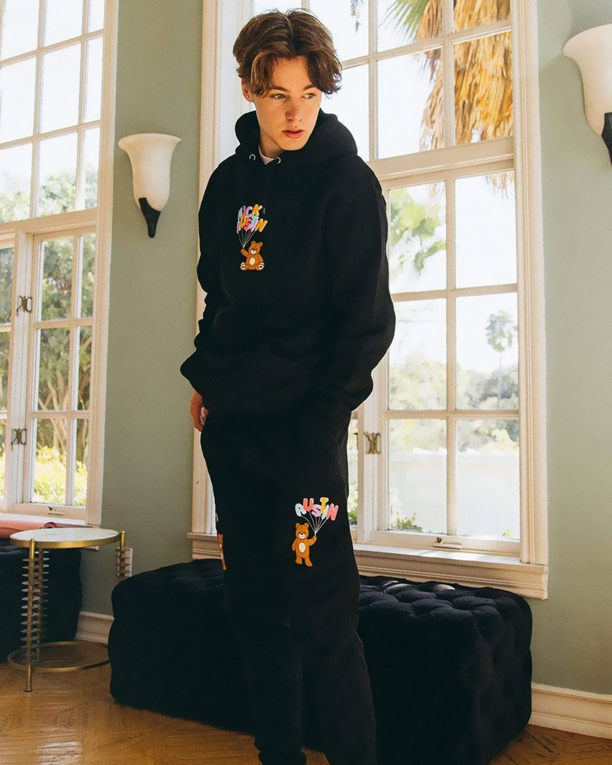 NICK AUSTIN TEDDY BEAR BLACK JOGGERS Sports Korean Loose Pants Ins Tide  Streetwear Men And Women Casual Trousers Kpop