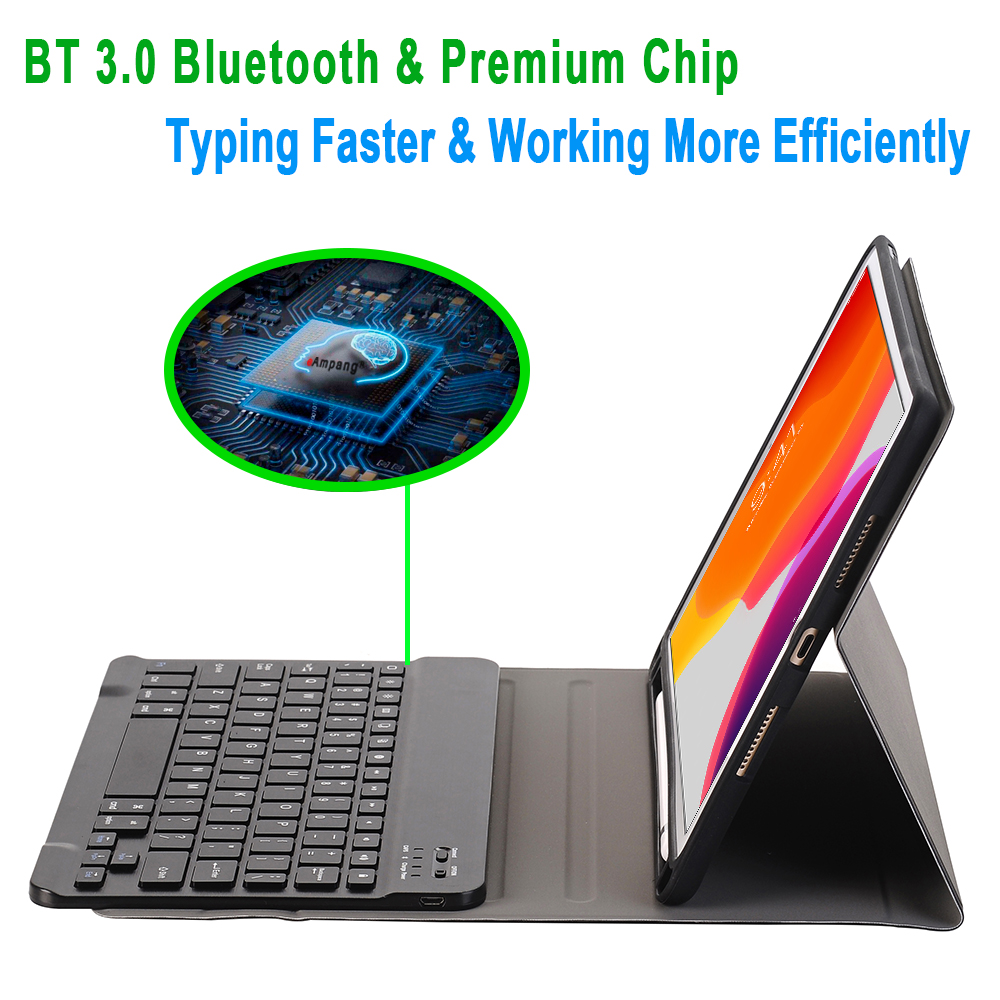 For iPad 10 2 2019 2020 Keyboard Case with Pencil Holder for Apple iPad 7th 8th