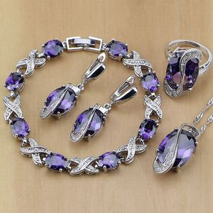 Image 1 - 925 Sterling Zilveren Bruids Sieraden Paarse Zirkoon Wit Cz Sieraden Sets Voor Vrouwen Oorbellen/Hanger/Ketting/Ringen/Armband