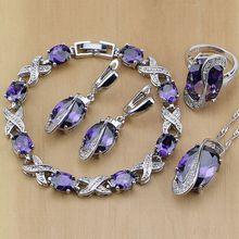 Conjunto de pendientes/colgante/Collar/anillos/pulsera de plata de ley 925, joyería nupcial, circonita púrpura, circonita blanca