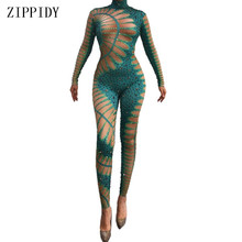 Sparkly Green Rhinestones Spandex Jumpsuit Sexy Dance Bodysuit Birthday Celebrat