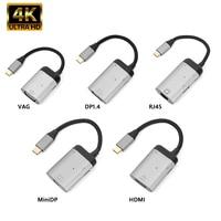 Adaptador USB, USB tipo C a Mini DP VGA Gigabit RJ45 Cable adaptador 4K 60HZ USB 3,1 tipo C a HDMI compatible con convertidor de Cable de Audio para MacBook