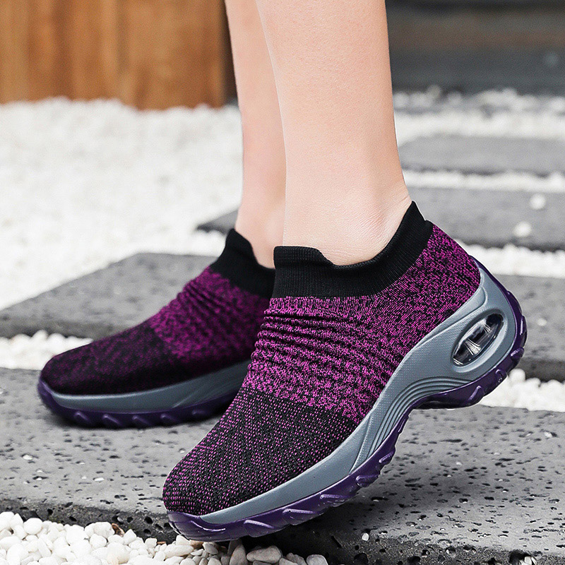 Women Mesh Breathable Sneakers Vulcanized Shoes Mesh Knitted Shoes Female Fashion Slip On Walking Running Footwear Size 9 10