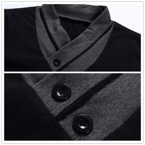 Image 4 - TFETTERS מותג סתיו אופנה גברים חולצה חולצה גברים טלאי V צוואר ארוך שרוול Slim Fit חולצה כותנה בתוספת גודל 4XL