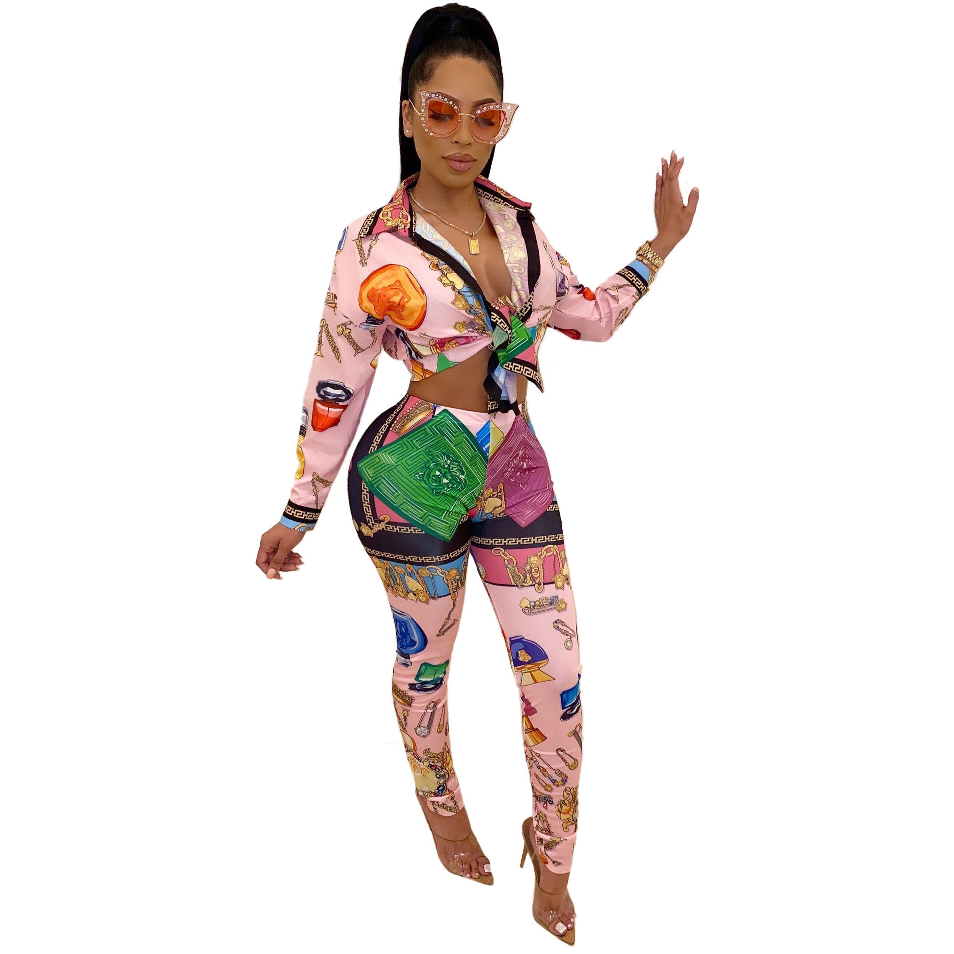 2020 Print Two Piece Sets Women Turn-down Collar Button Up Long Blouses Shirts And Pencil Pants Active Wear Suit Club Outfits