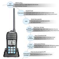 מכשיר הקשר RETEVIS RT55 מקצועי VHF Marine רדיו Float מכשיר הקשר Waterproof דו כיוונית רדיו VHF ימית 5W התראה רדיו NOAA מזג (4)