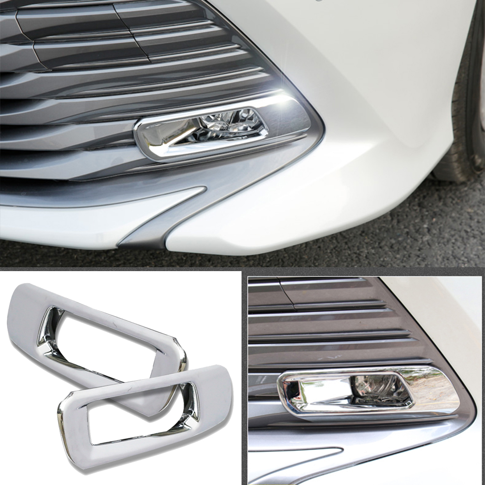 For Toyota Camry 70 XV70 8th 2018 2019 Car Front Fog Lamps Trim Cover Auto Silver Chrome Light Stickers Car Styling Accessories